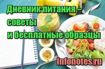 картинка Дневник питания – советы и бесплатные образцы для скачивания